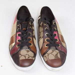 Coach Dawnell leather sneakers gold brown pink